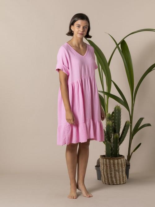 Vestido caida tejido trendy Rosa