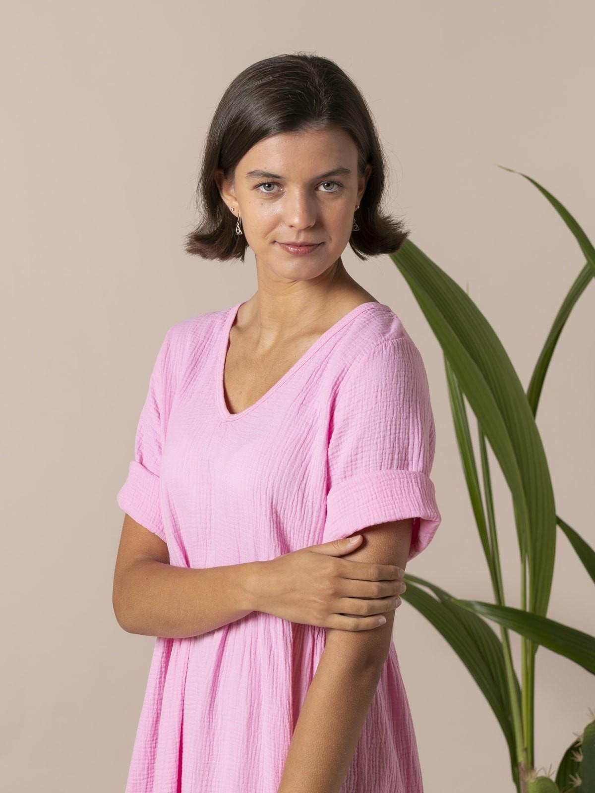 Woman Trendy fabric drop dress Pink