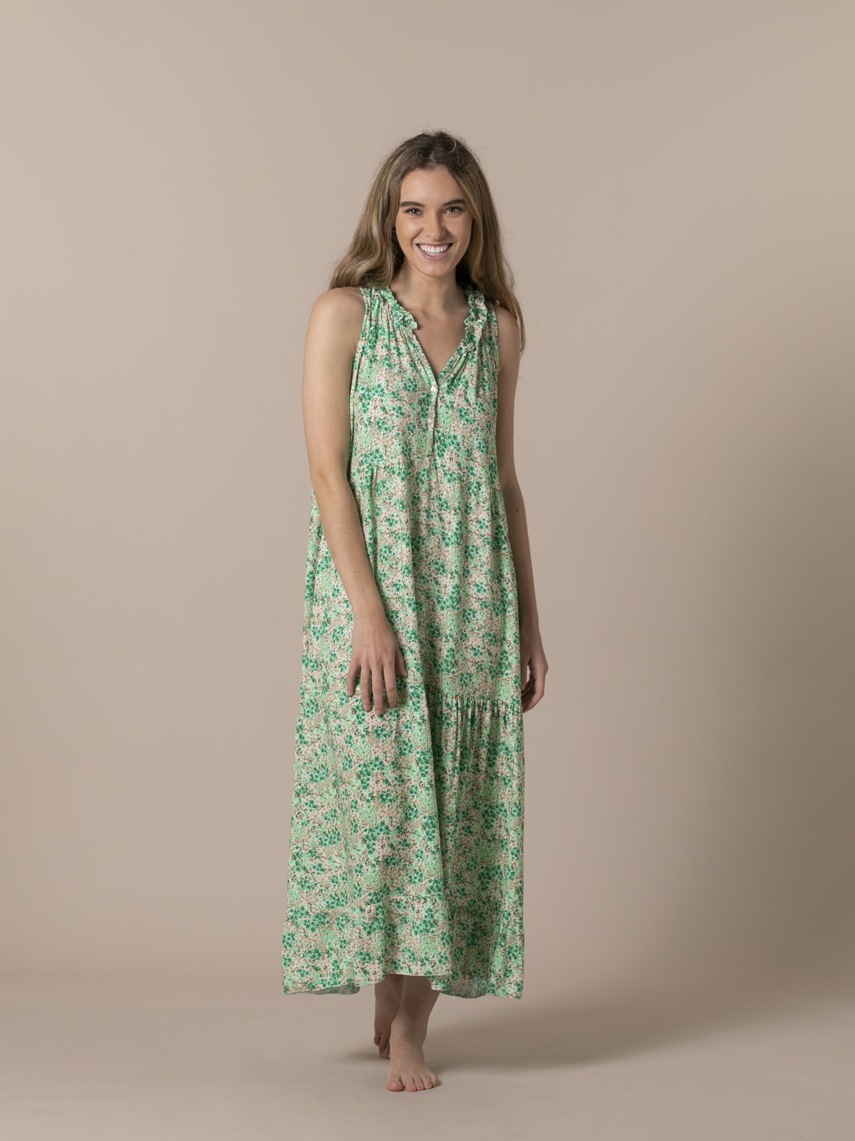 Woman Long flowery dress Green