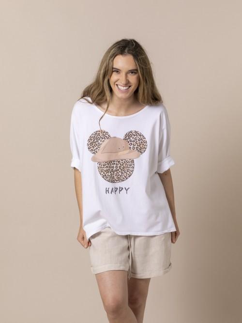 Woman Teddy animal print t-shirt Camel