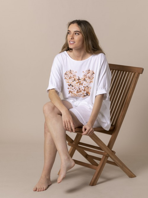 Woman Floral Teddy T-shirt Camel