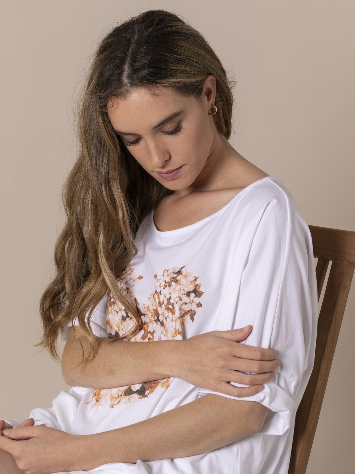 Camiseta mujer Teddy floral Camel