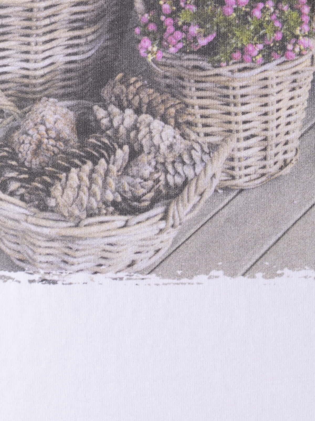 Woman Woman Oversized flower basket t-shirt Beige