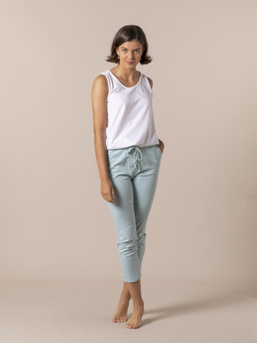 Pantalón mujer tobillero casual Aqua