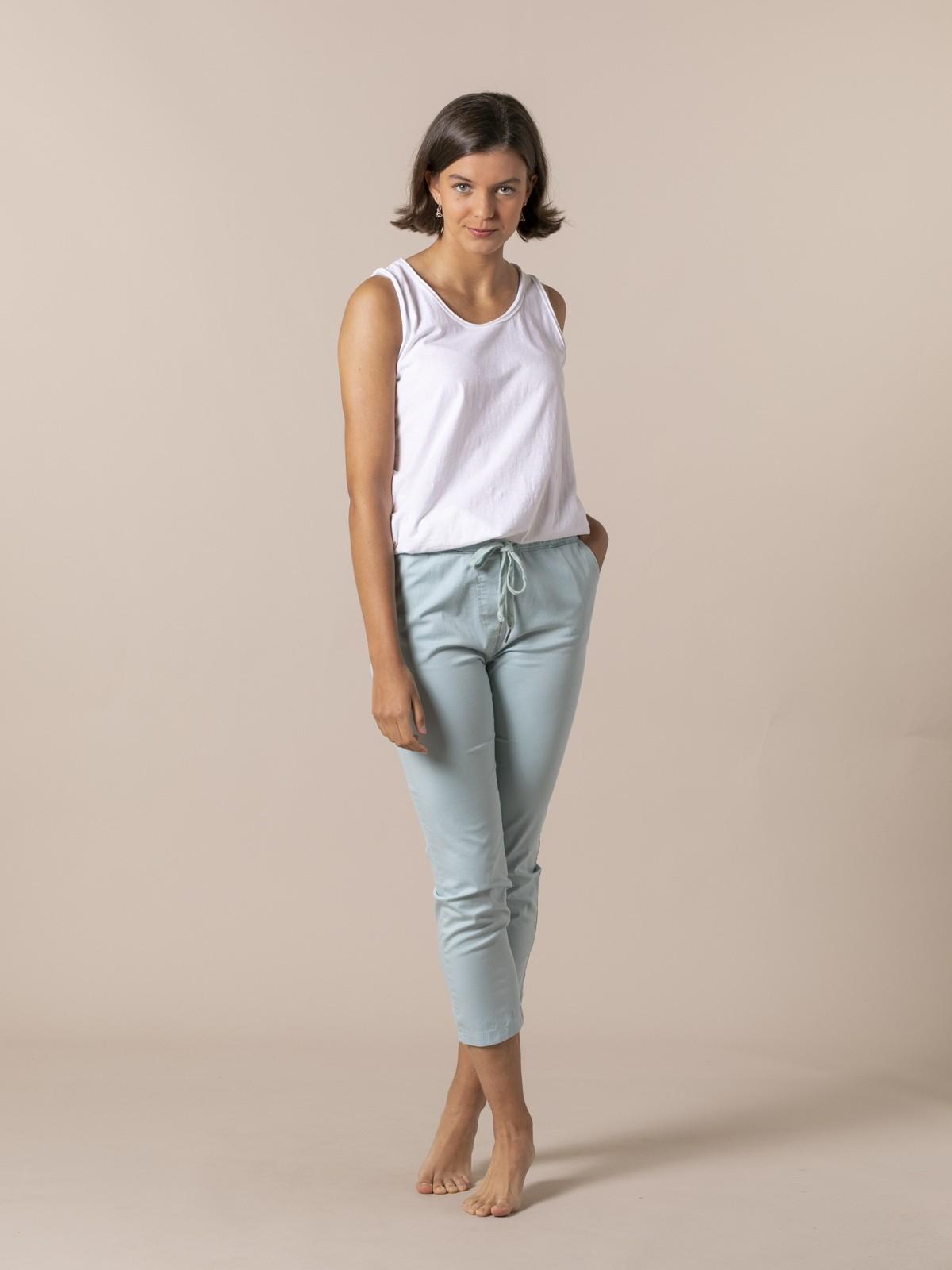 Woman Woman Casual ankle-length trousers Aqua