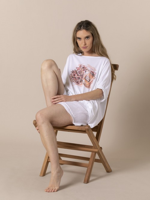 Woman Oversized perfume print T-shirt Coral