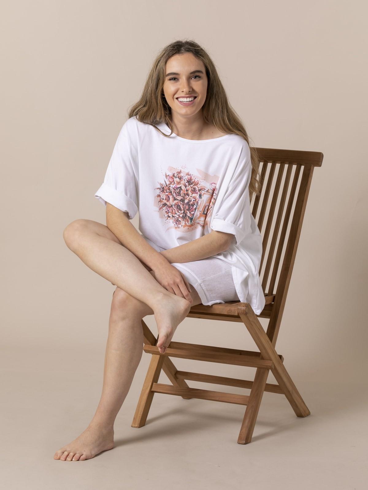 Camiseta oversize mujer estampado perfume Coral