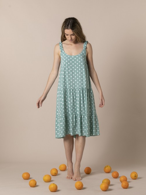 Woman Speckled midi dress with strap detail Green