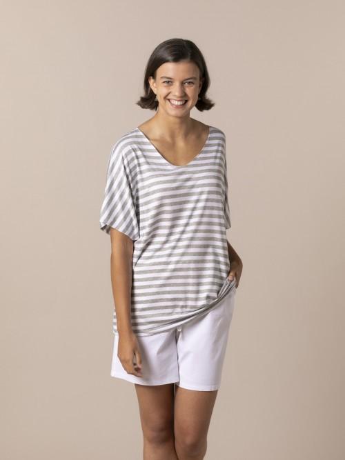 Woman Woman Striped V-neck T-shirt Grey