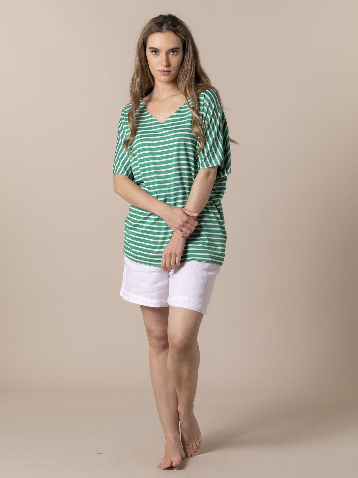 Woman Woman Striped V-neck T-shirt Green