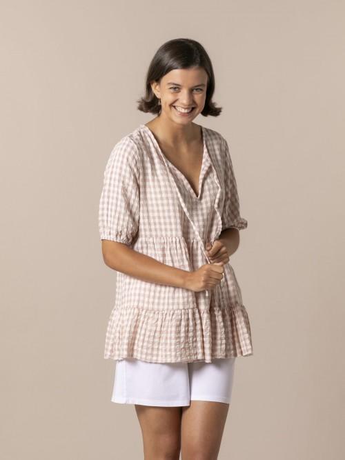 Camisa mujer cuadro vichy Rosa