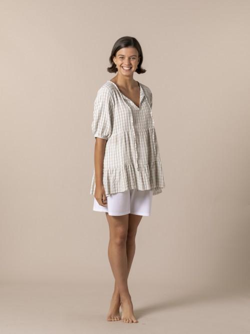 Camisa mujer cuadro vichy Aqua
