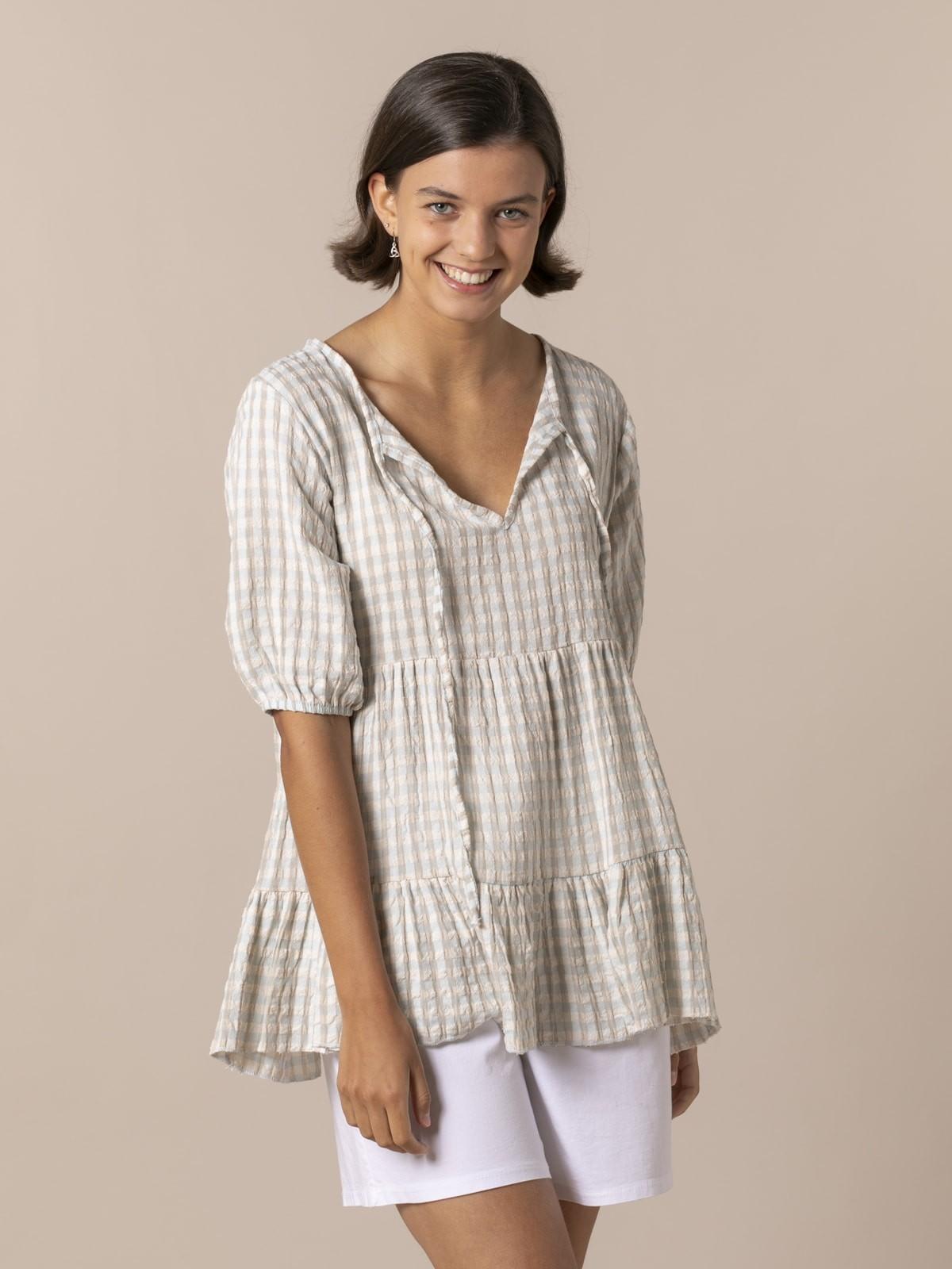 Woman Woman Gingham check shirt Aqua