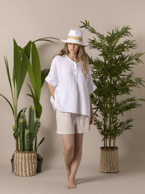 Camisa oversize mujer lino Blanco