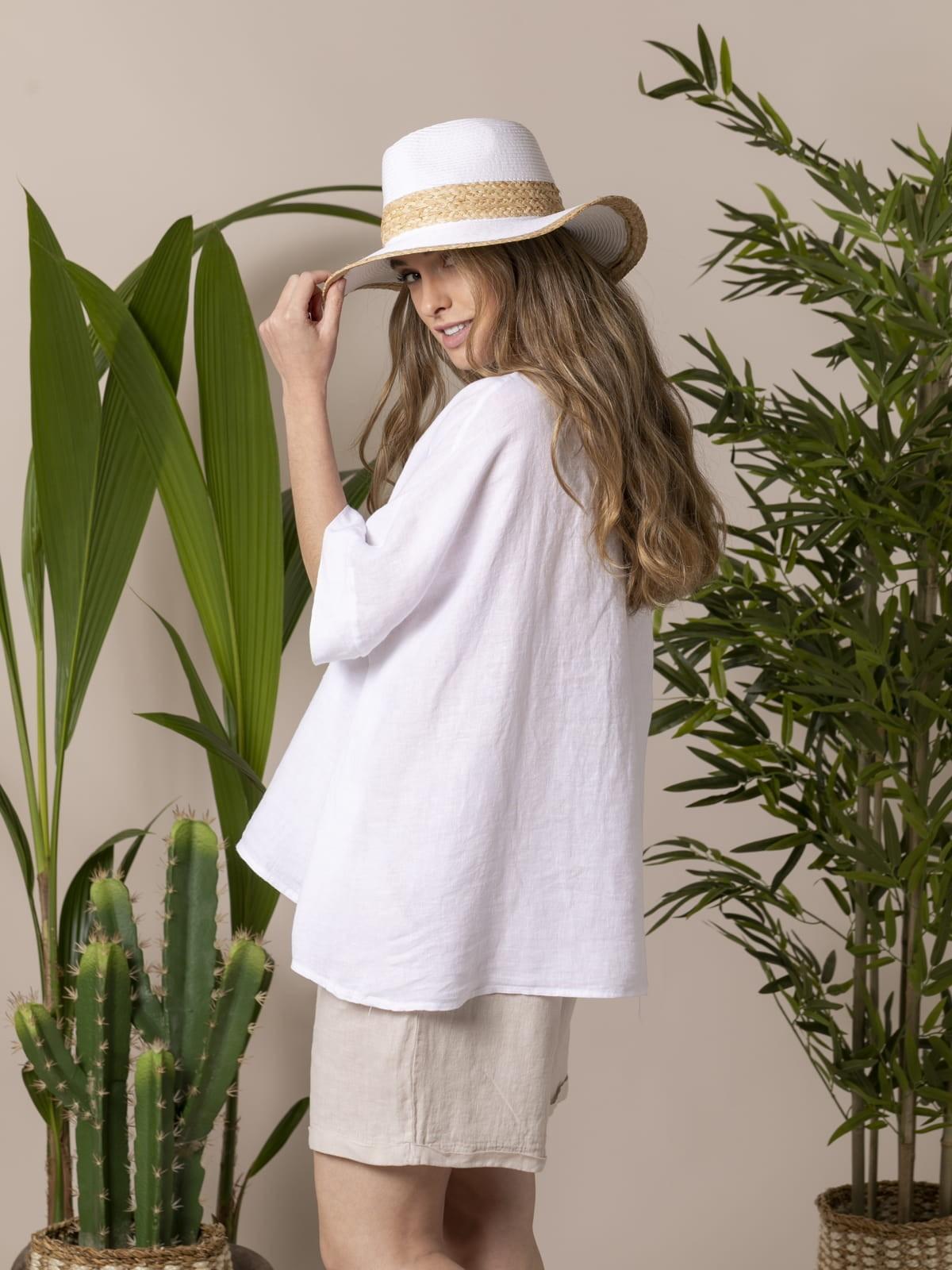 Woman Woman Oversized linen shirt White