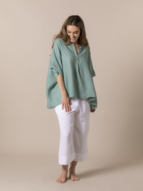 Camisa oversize mujer lino Verde
