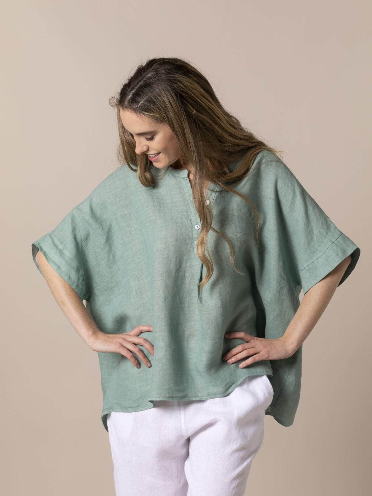 Woman Woman Oversized linen shirt Green