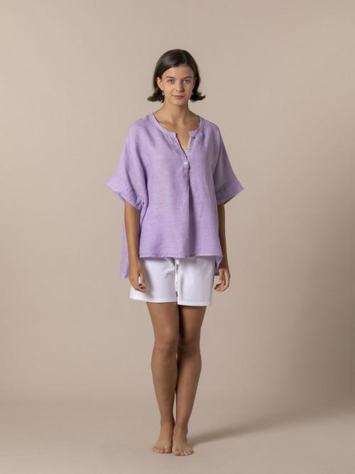 Camisa oversize mujer lino Lila