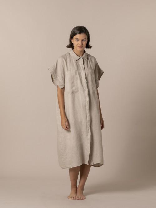 Woman Viscose linen oversize dress Camel