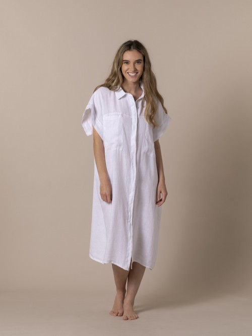 Woman Viscose linen oversize dress White