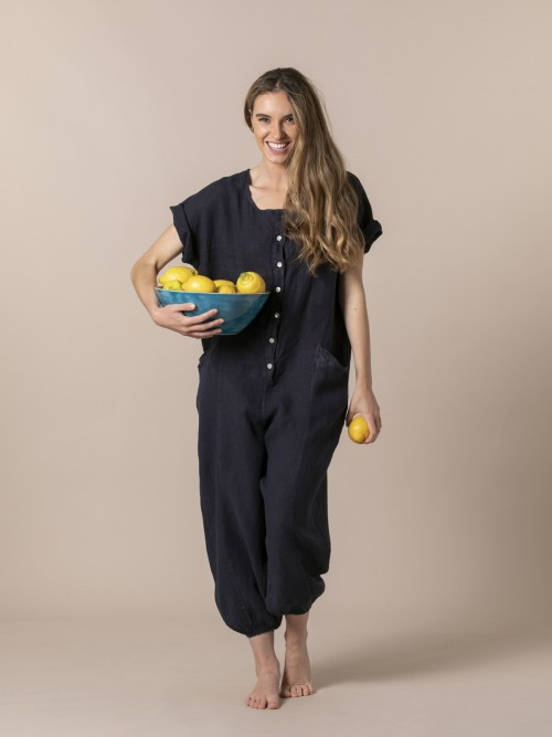 Woman Woman Linen jumpsuit with buttons and elastic hem Blue Navy
