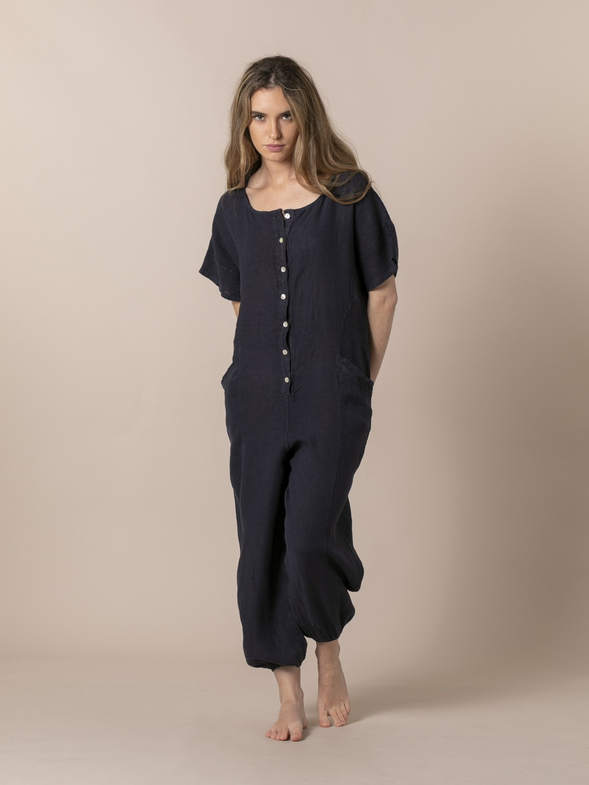 Woman Linen jumpsuit with buttons and elastic hem Blue Navy
