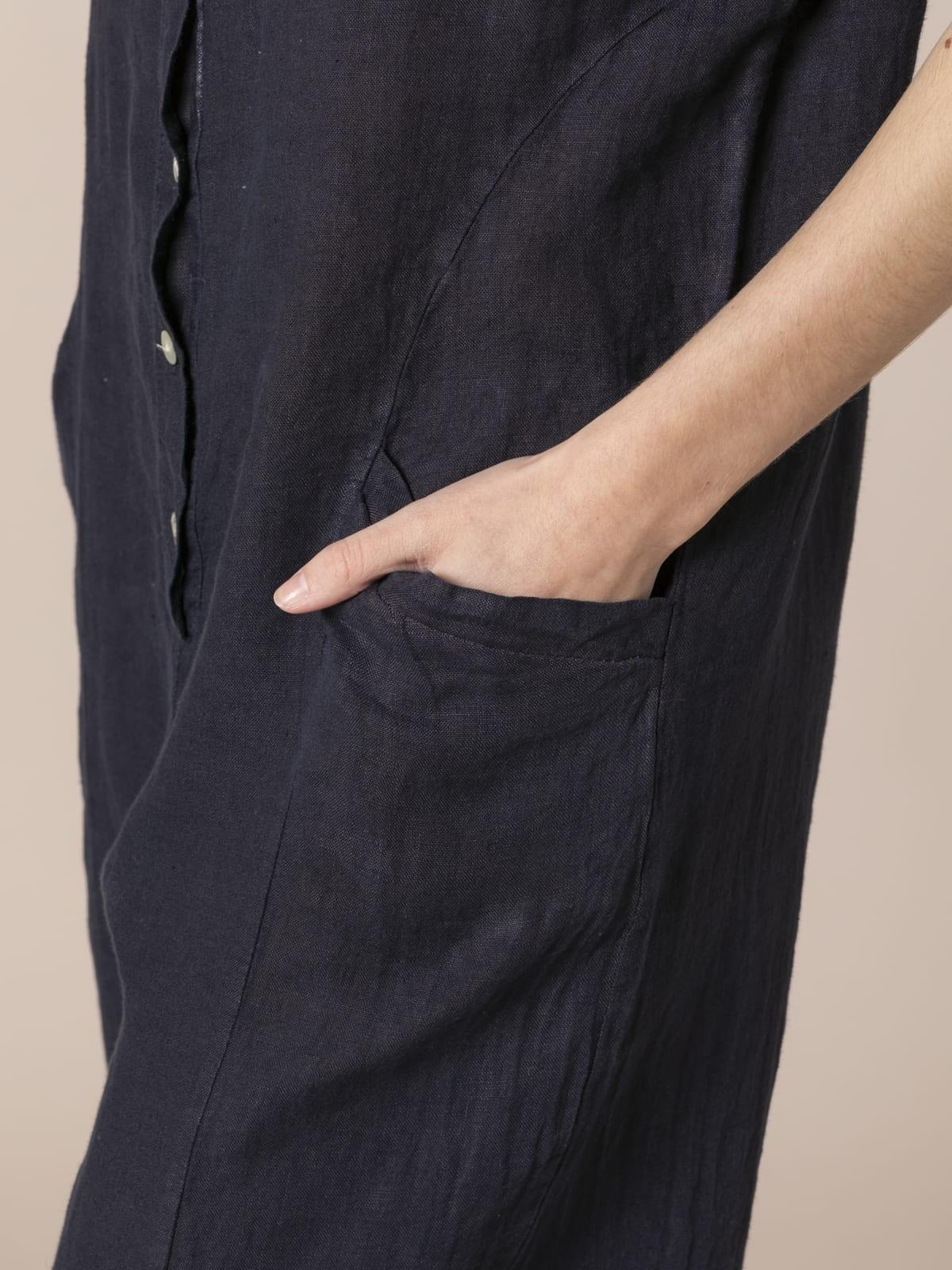 Mono lino con botones y bajo elastico Azul Marino
