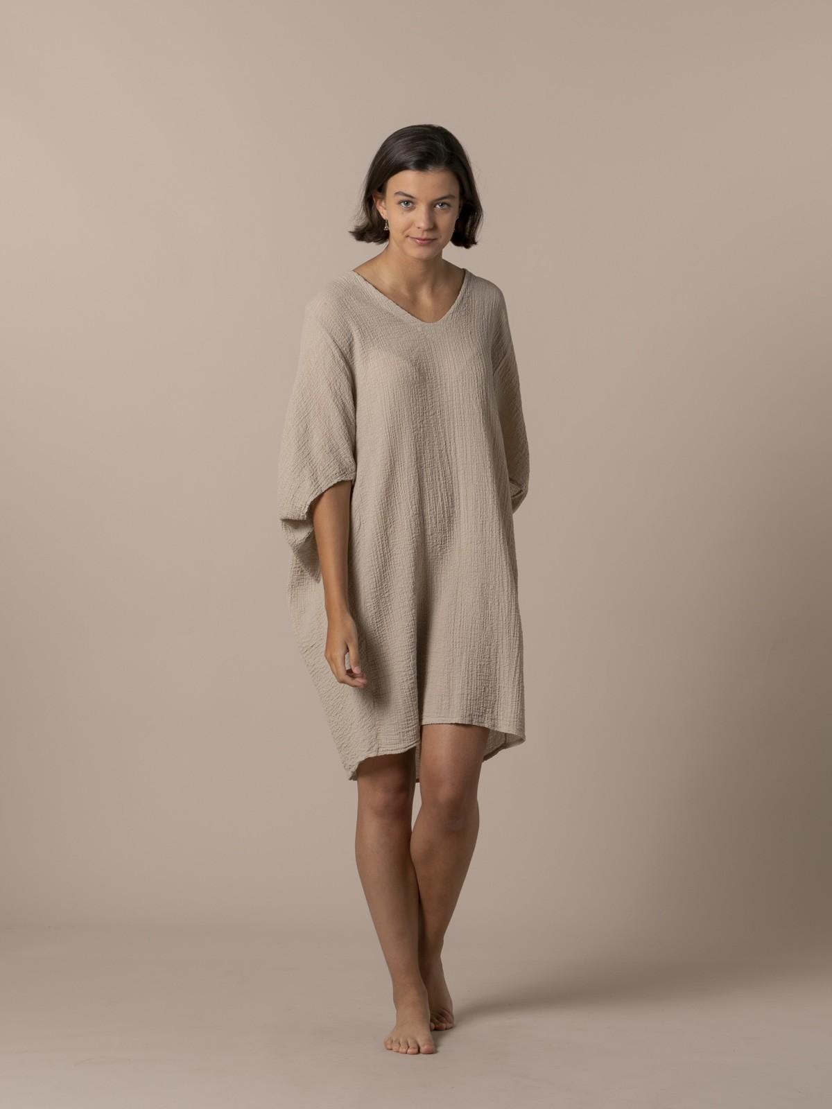 Woman Woman Wide cotton shirt Camel