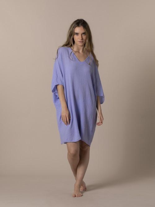 Camisa mujer amplia algodón Violeta