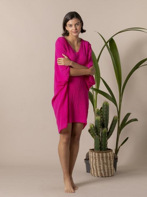 Camisa mujer amplia algodón Fucsia