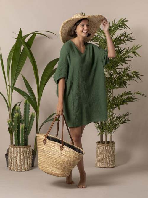Camisa mujer amplia algodón Verde oscuro