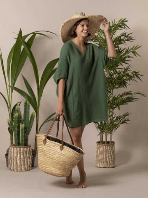 Woman Woman Wide cotton shirt Green oscuro