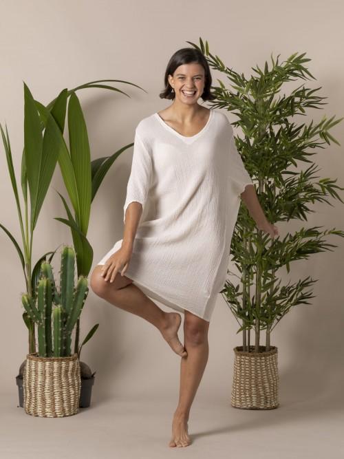 Camisa mujer amplia algodón Crudo