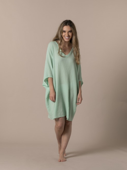 Woman Woman Wide cotton shirt Green