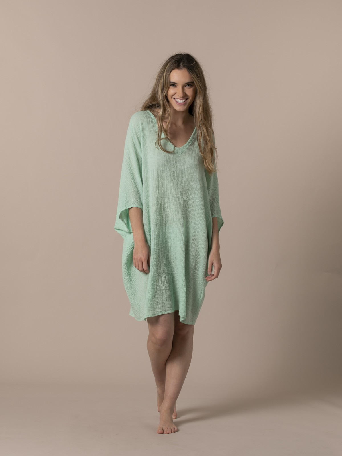 Camisa mujer amplia algodón Verde