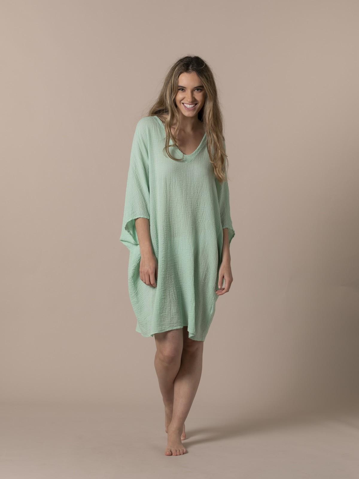 Woman Wide cotton shirt Green