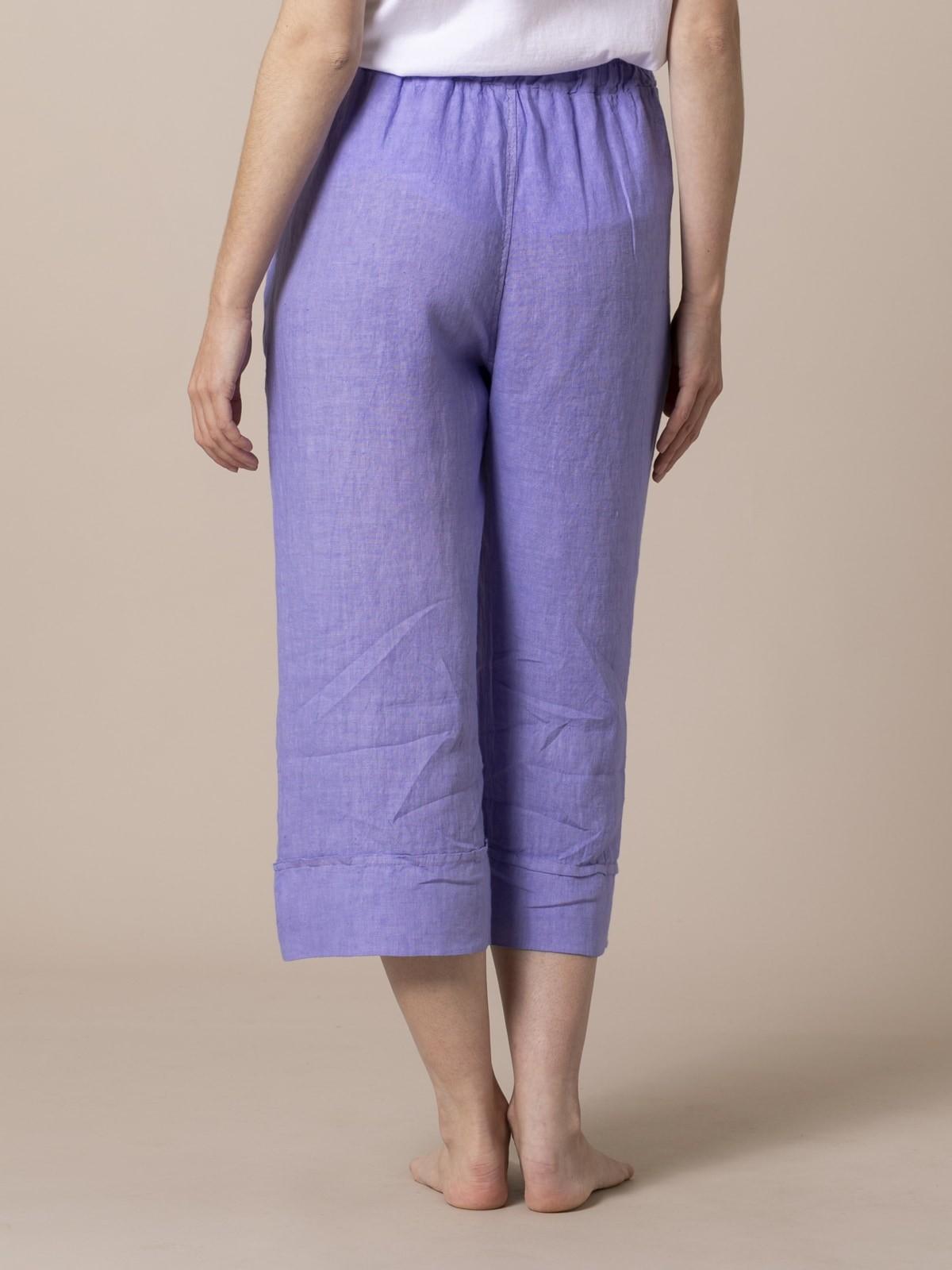 Pantalón mujer de lino 100% Violeta