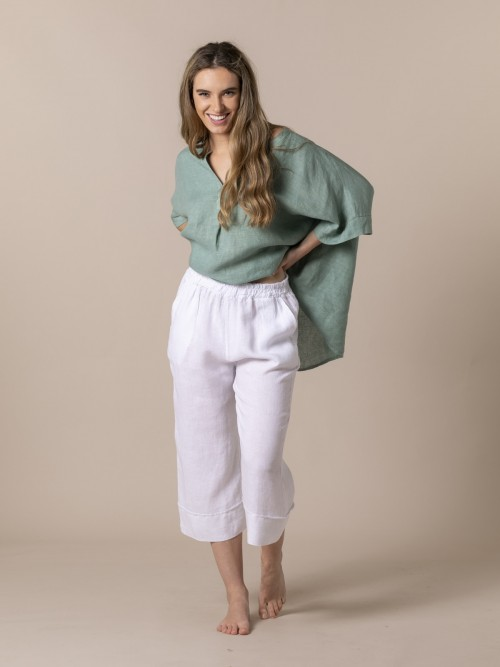 Pantalón mujer de lino 100% Blanco