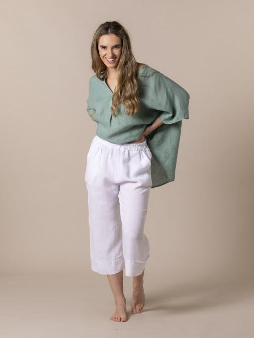 Woman Woman 100% linen trousers White