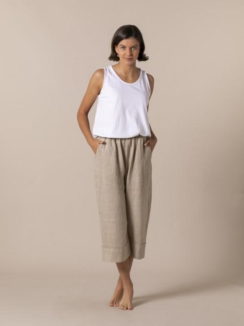 Woman Woman 100% linen trousers Camel
