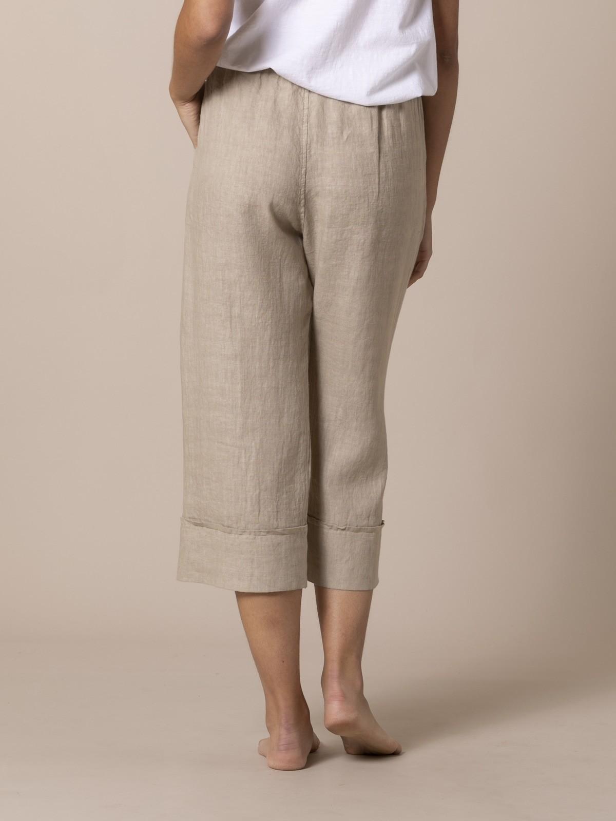 Pantalón mujer de lino 100% Camel