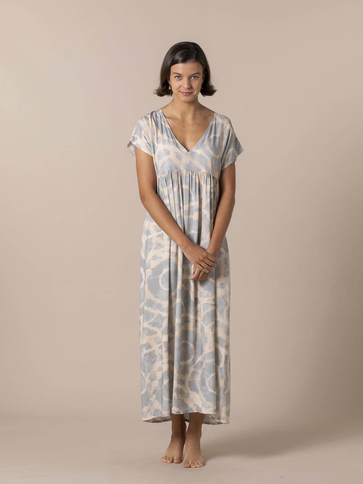 Woman Long printed dress Grey Claro