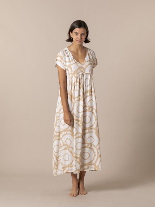 Woman Long printed dress Camel