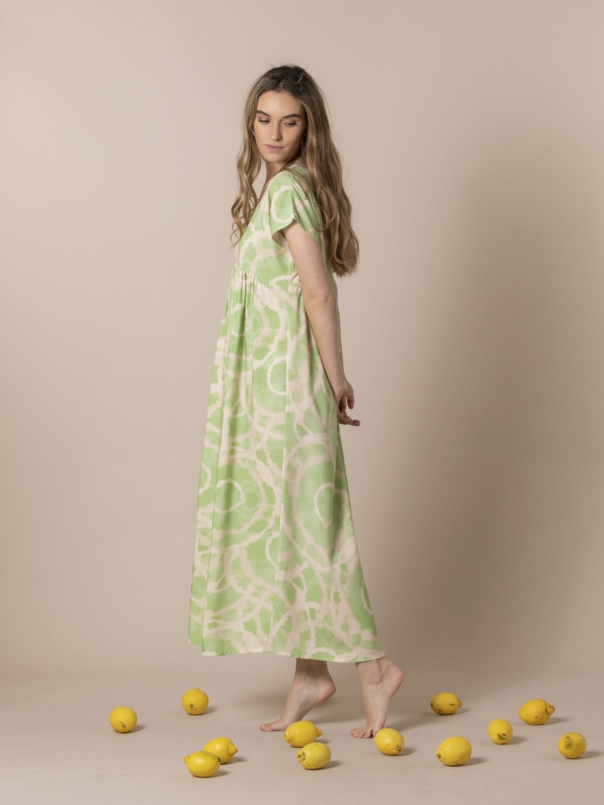 Woman Long printed dress Green oscuro