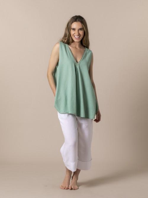 Camisa oversize lino pico Verde claro