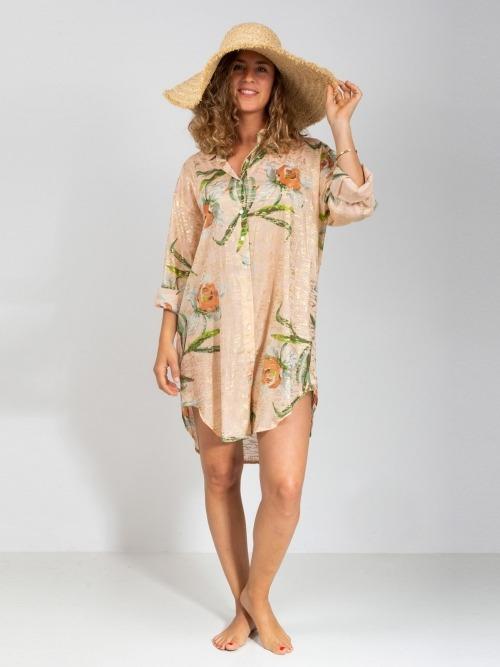 Vestido largo camisero brillo mujer Rosa