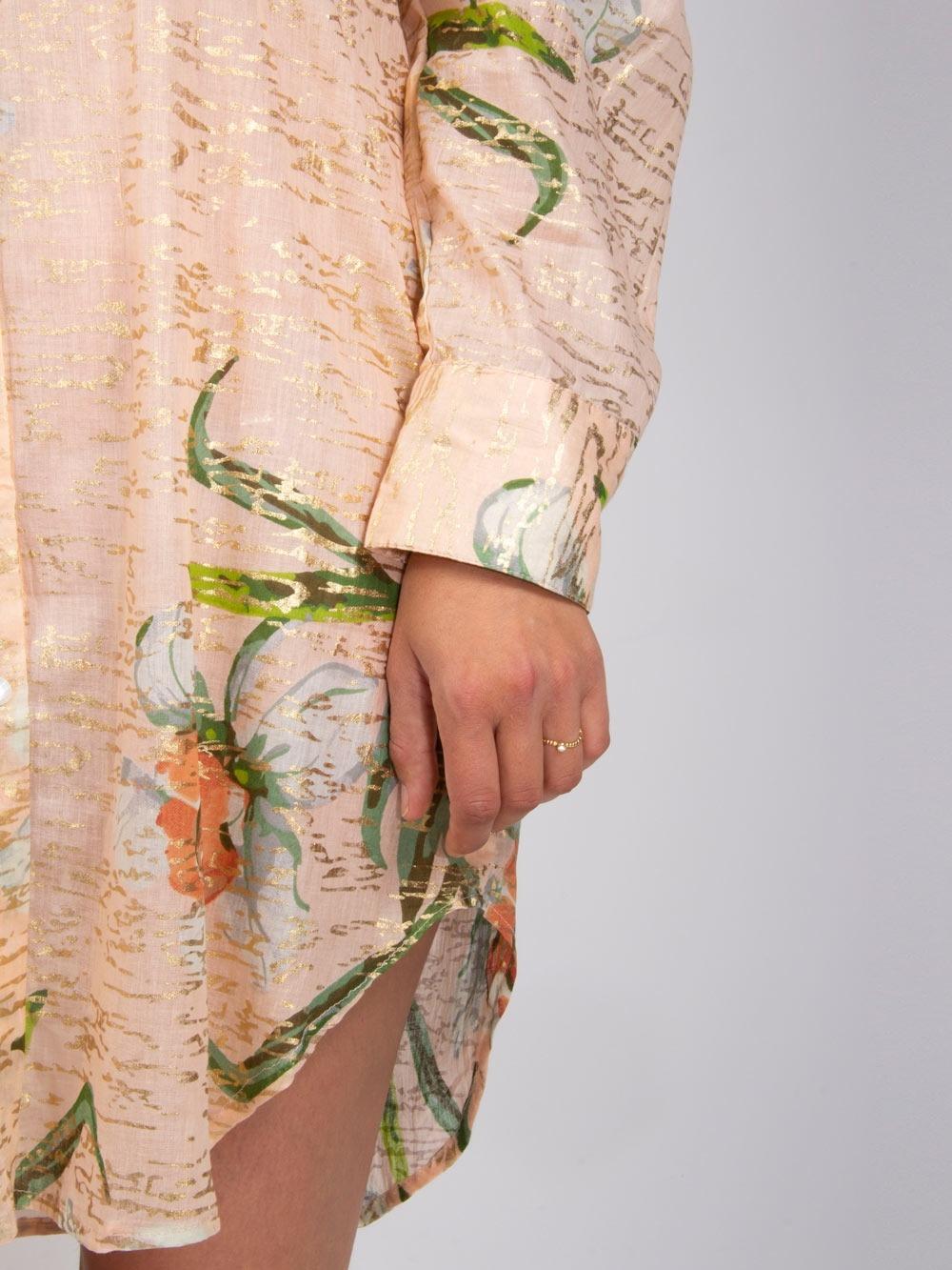 Vestido largo mujer camisero Rosa
