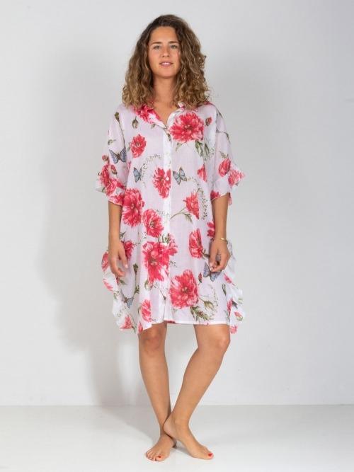 Vestido camisero estampado oversize mujer Rosa