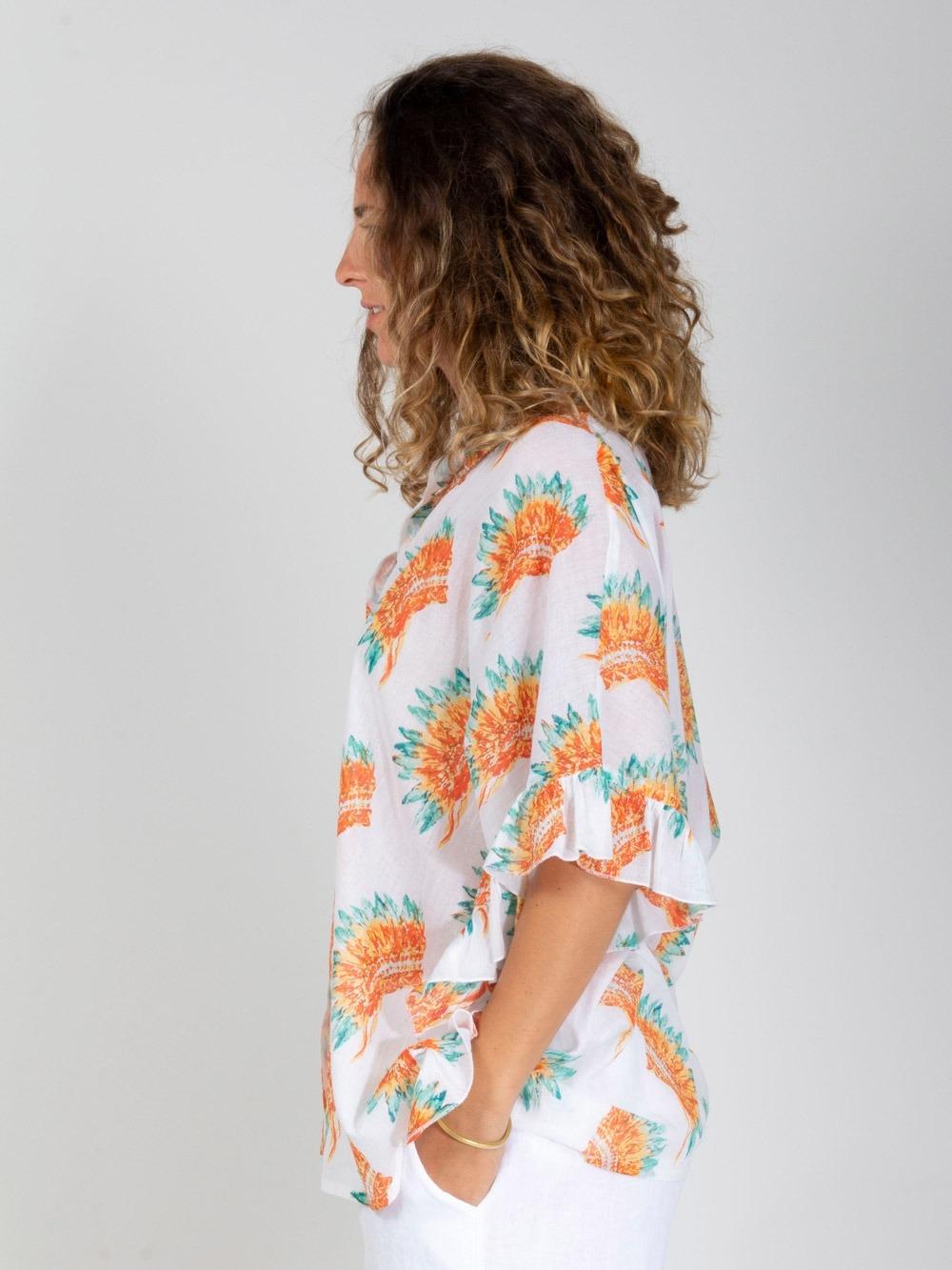 Woman Woman Oversized ruffle shirt White
