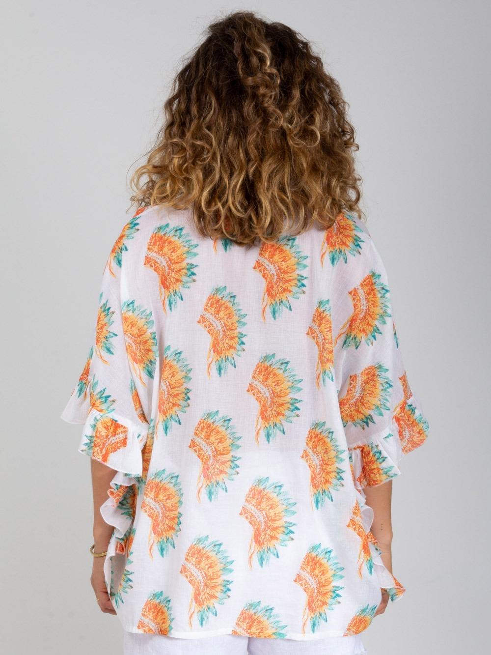 Camisa mujer oversize volante Blanco
